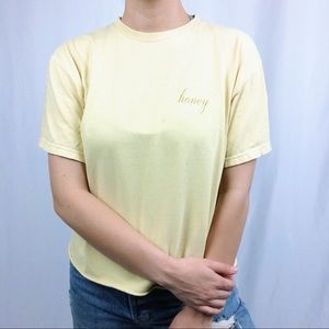 Brandy Melville yellow embroidered honey t-shirt